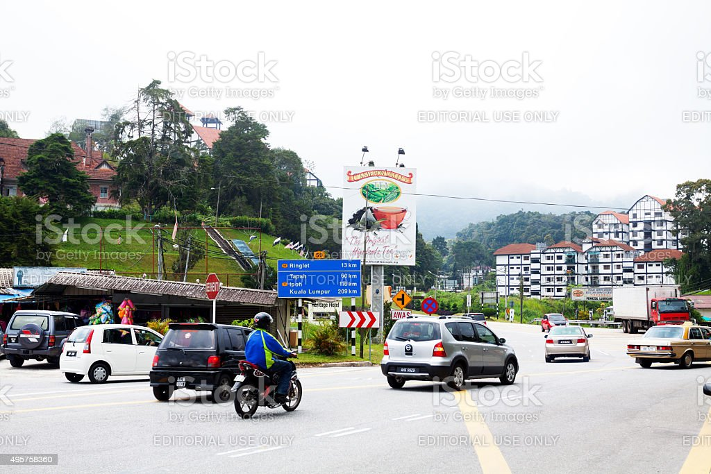 Entrance area of Tanah Rata in Cameron Highlands stock photo