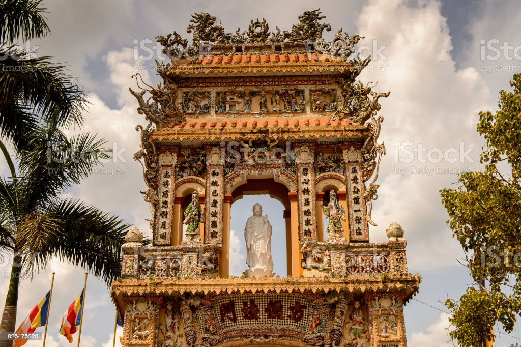 Entrance at the Vinh Tranh Pagoda in My Tho, the Mekong Delta, stock photo