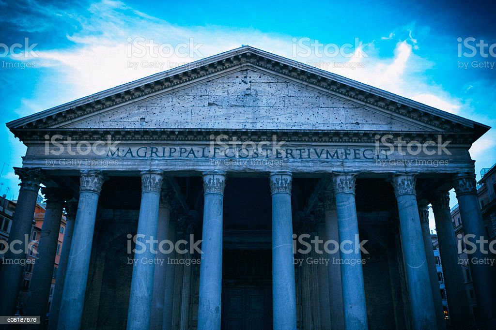 Entrance Colonnade of the Pantheon in Rome, Italy stock photo
