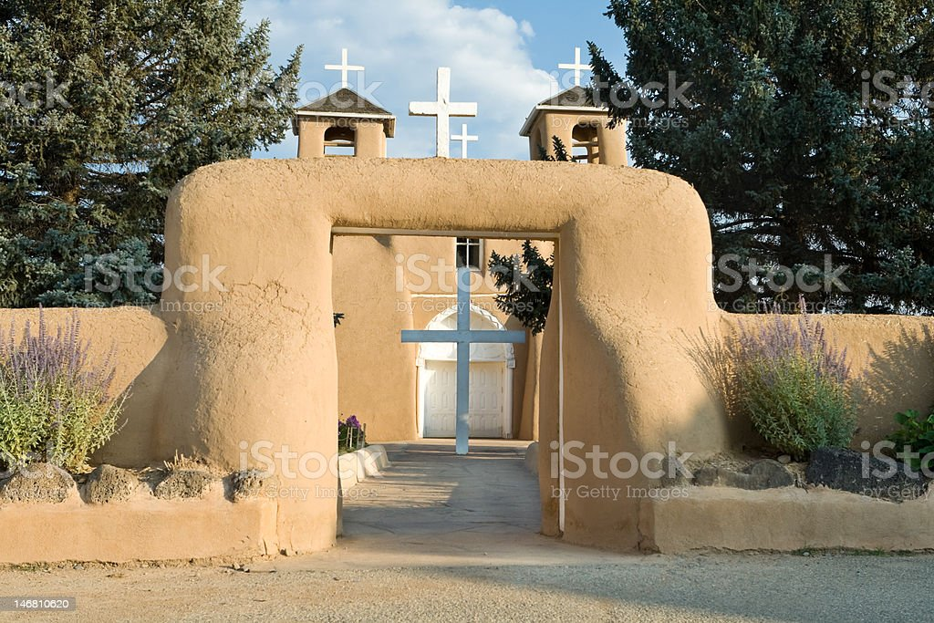 Entrance Cross, San Francisco de Asis Church Mission Ranchos Taos stock photo