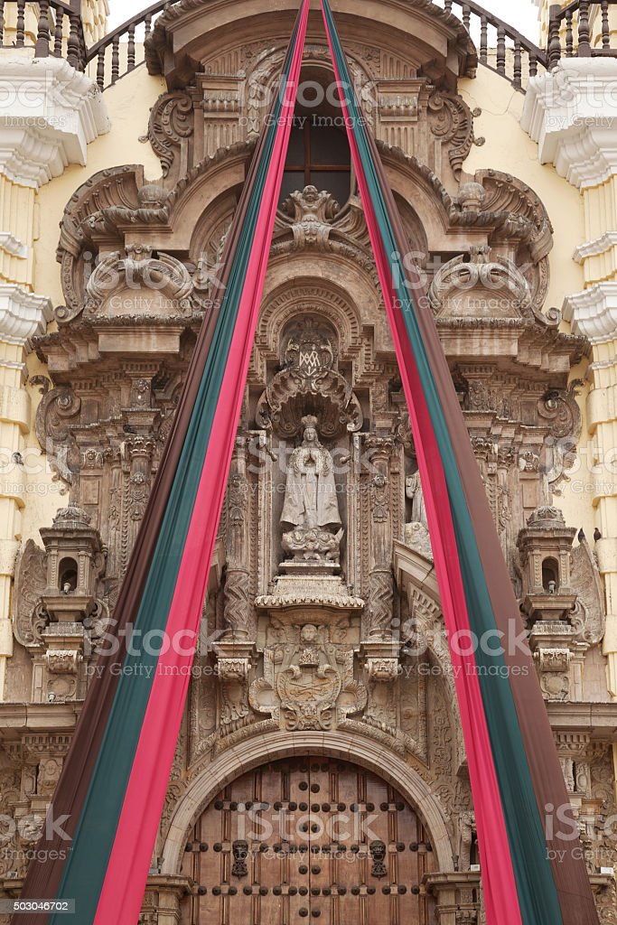 Entrance detail of Monastery of San Francisco in Lima, Peru stock photo