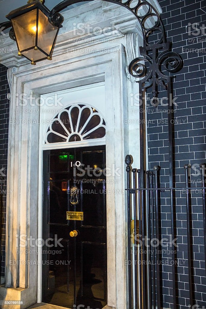 Entrance door of 10 Downing Street in London stock photo