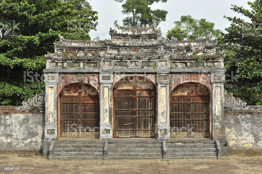 Entrance door of Khai Dinh Imperial Tomb, Hue royalty-free stock photo