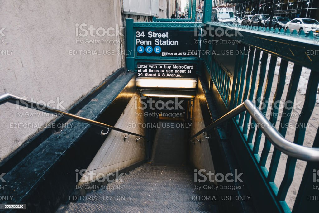 Entrance down to subway system of New York. stock photo