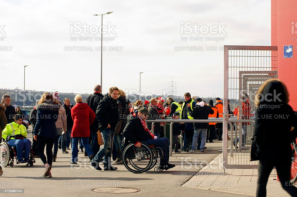 Entrance for wheelchair users to soccer match stock photo