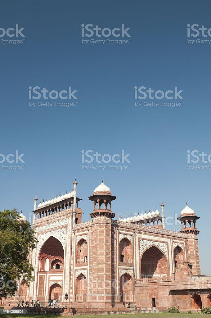 Entrance gate at Taj Mahal in Agra, India stock photo