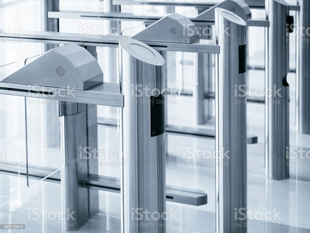 Entrance gate card Access Security system stock photo