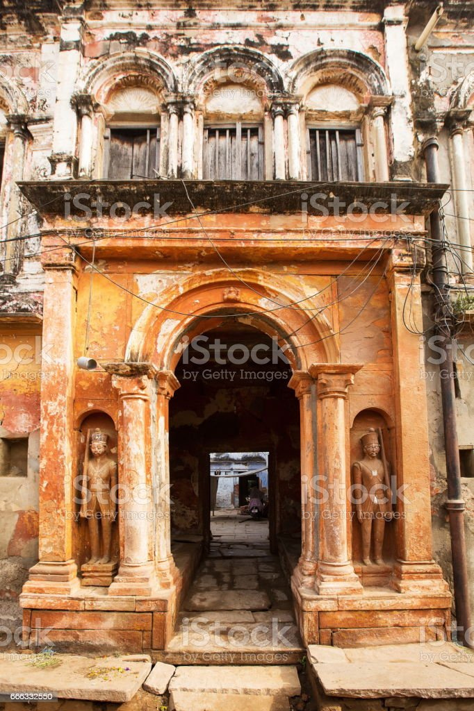 Entrance gate of an old house in Varanasi city stock photo