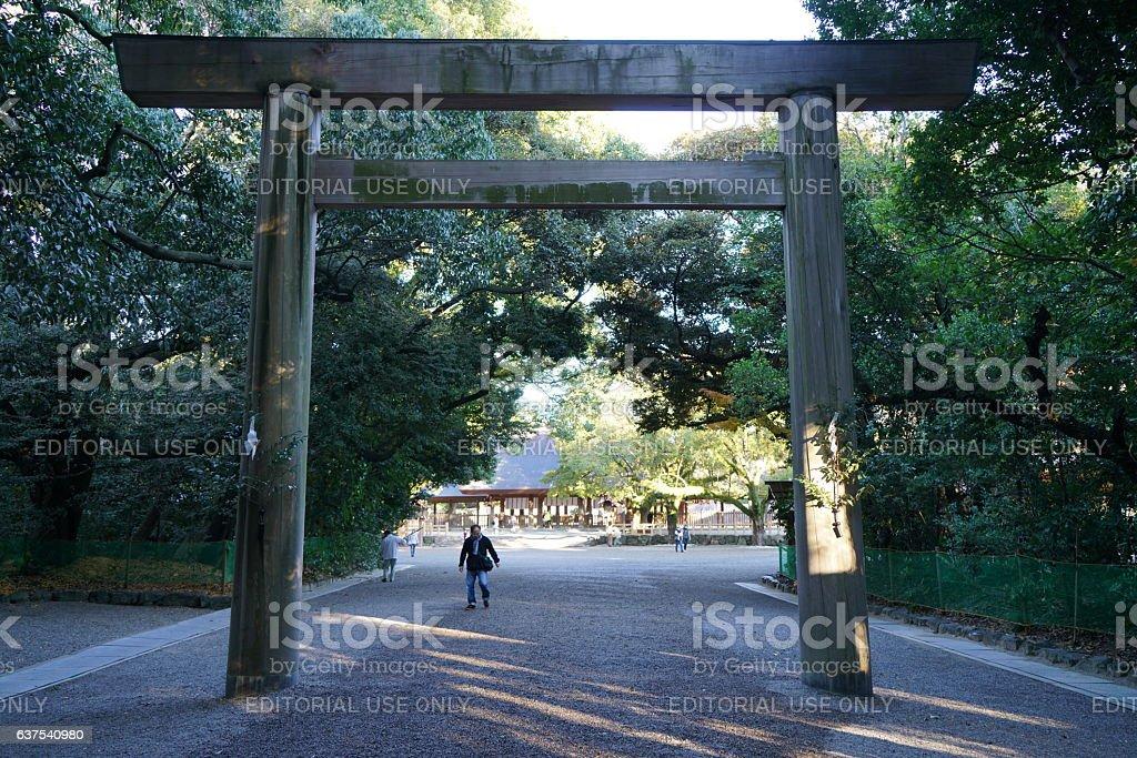 Entrance gate of Atsuta shrine(torii) stock photo