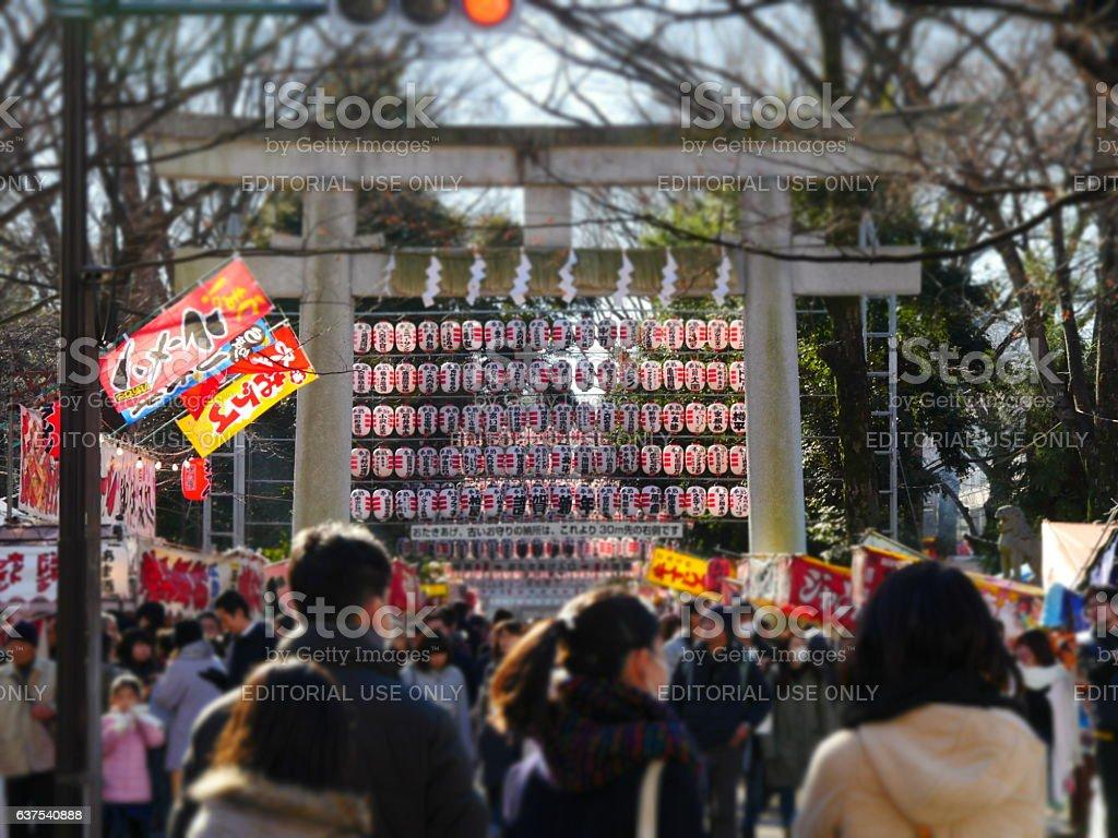 Entrance gate of Okunitama shrine(torii) stock photo