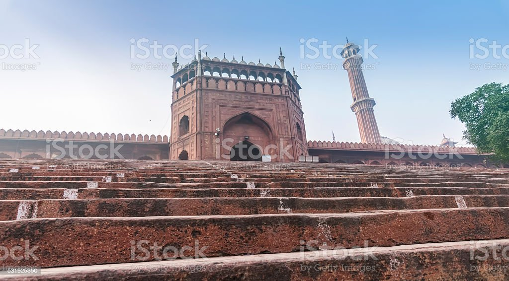 Entrance gate of the Jama Masjid Mosque in New Delhi stock photo