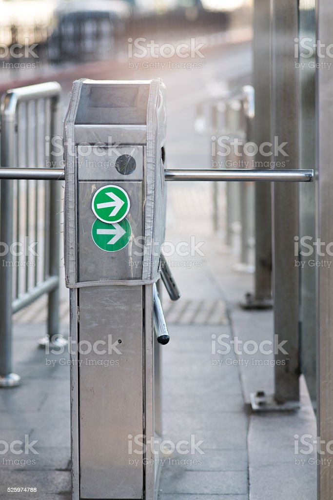 Entrance Gate Ticket Access Subway Station stock photo
