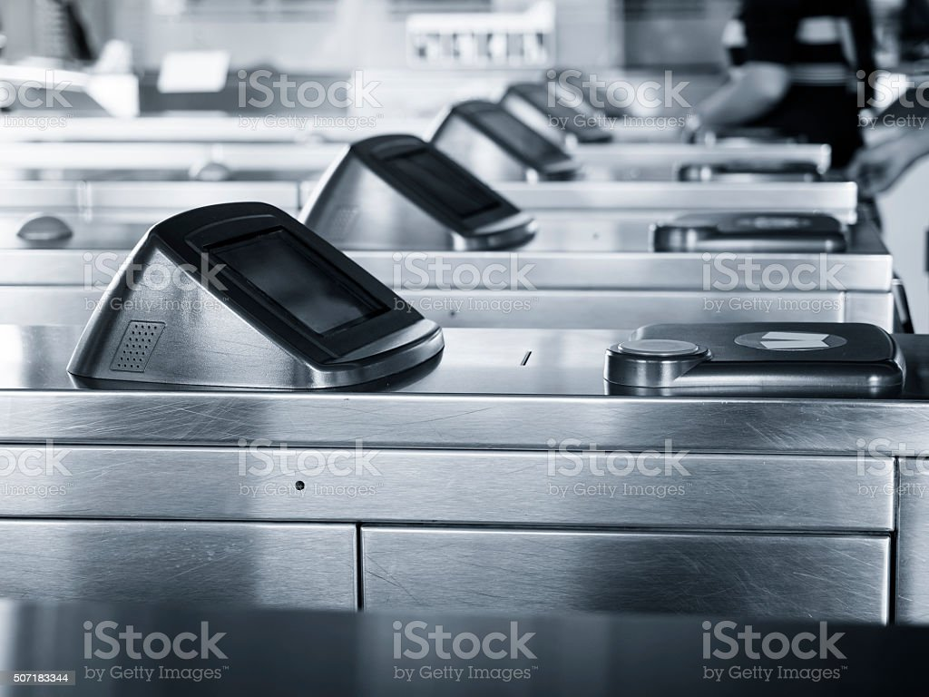 Entrance Gate Ticket Access Touch technology Subway Station stock photo