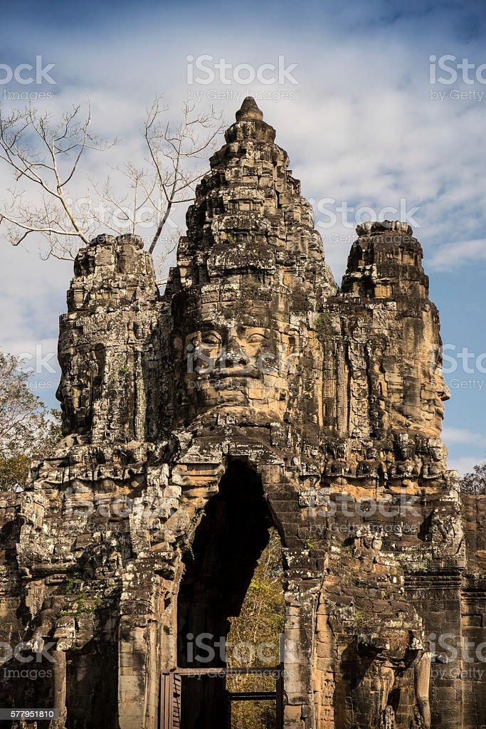 Entrance gate to Angkor Thom stock photo