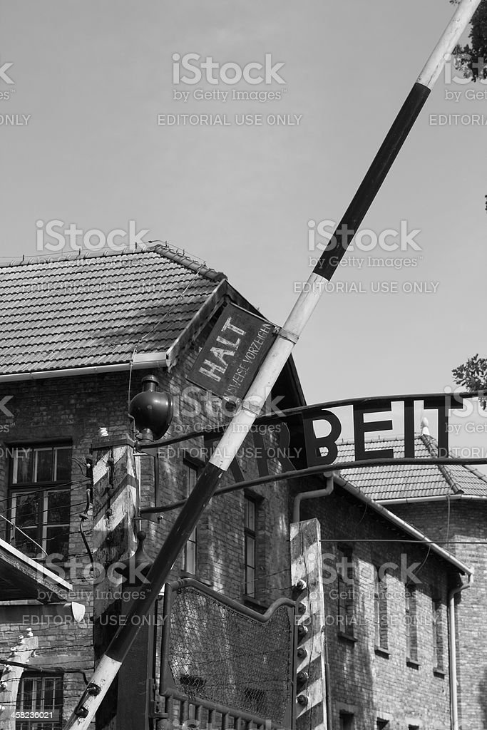 Entrance gate to Auschwitz concentration camp royalty-free stock photo