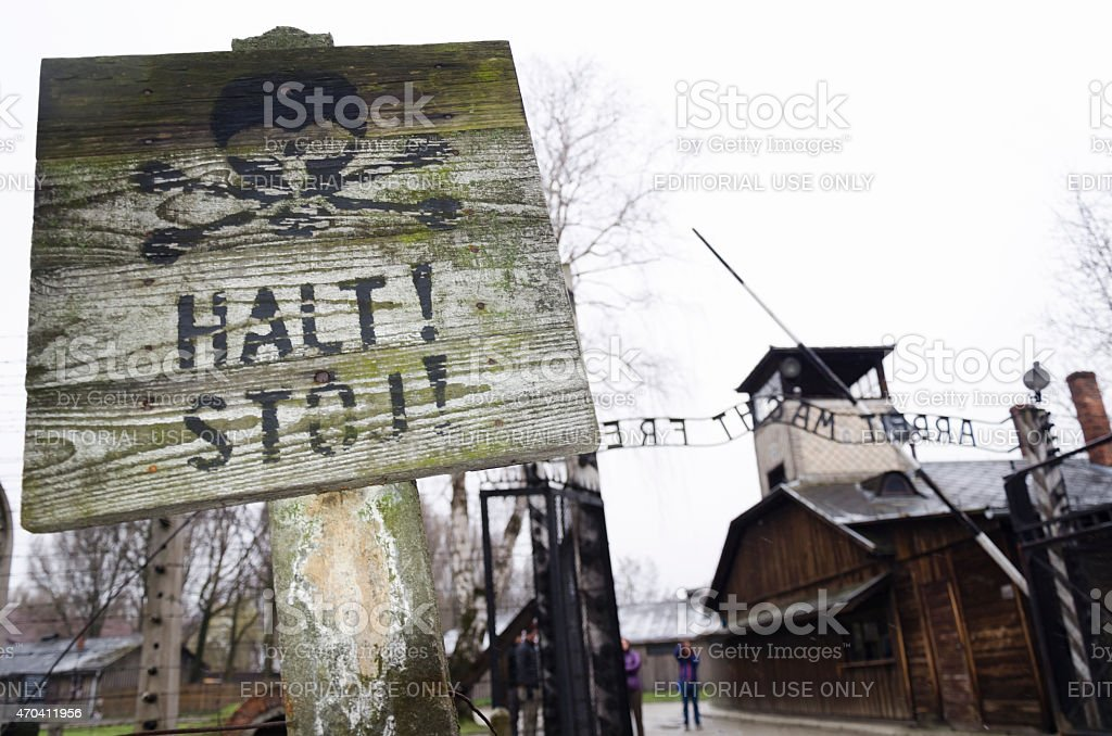 Entrance gate to Auschwitz concentration camp stock photo