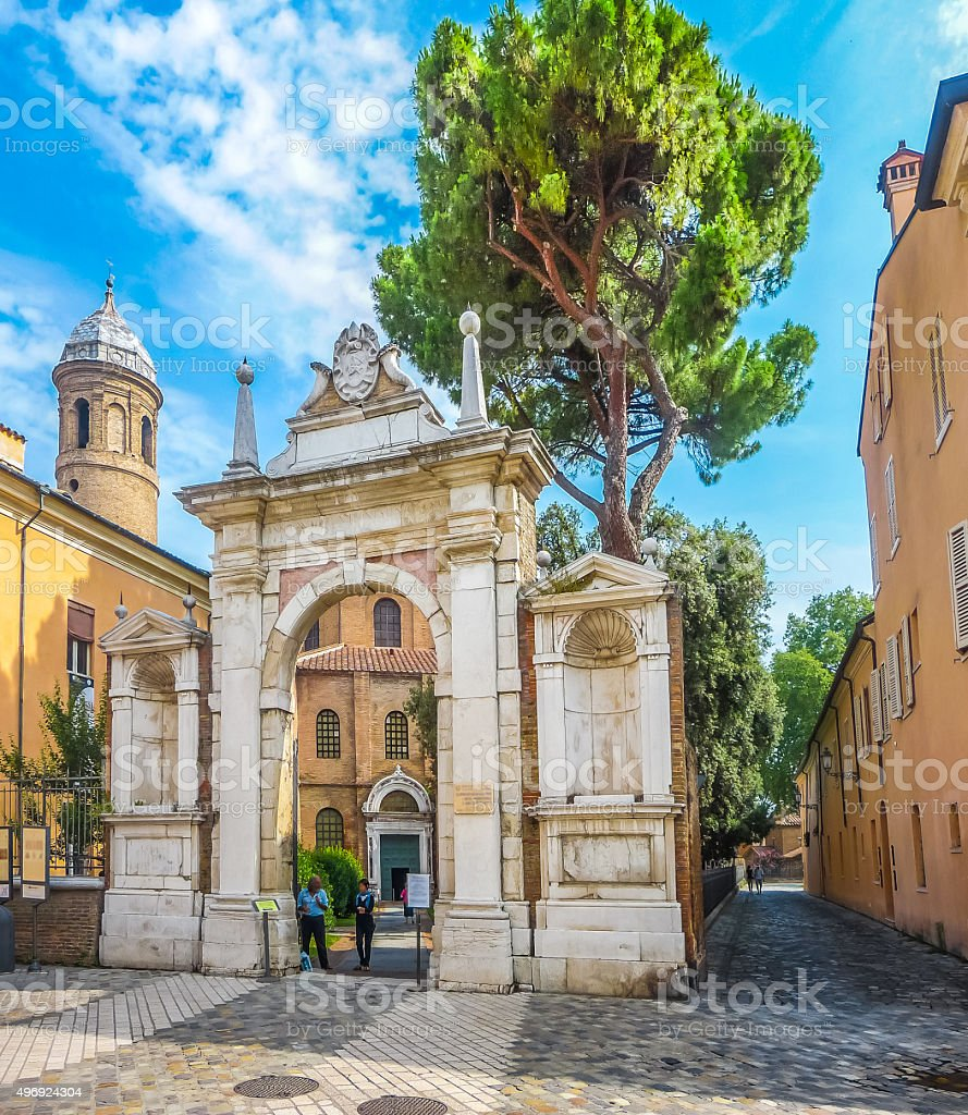 Entrance gate to Basilica di San Vitale in Ravenna, Italy stock photo