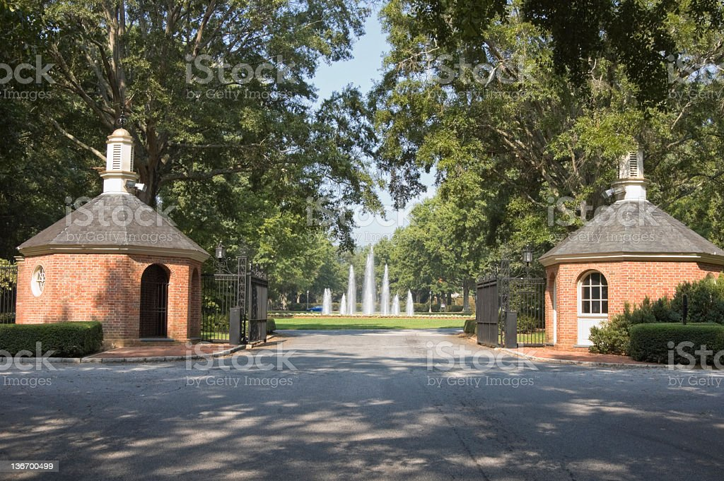Entrance Gate to Furman College, Greenville, SC stock photo