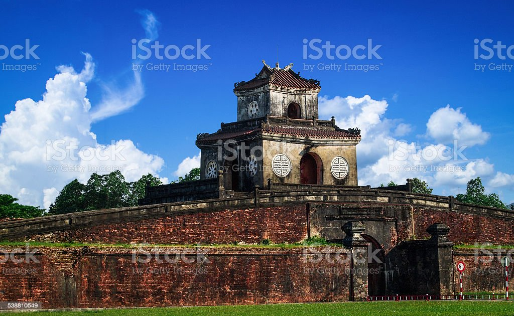 Entrance gate to the Imperial City, Hue, Vietnam. stock photo