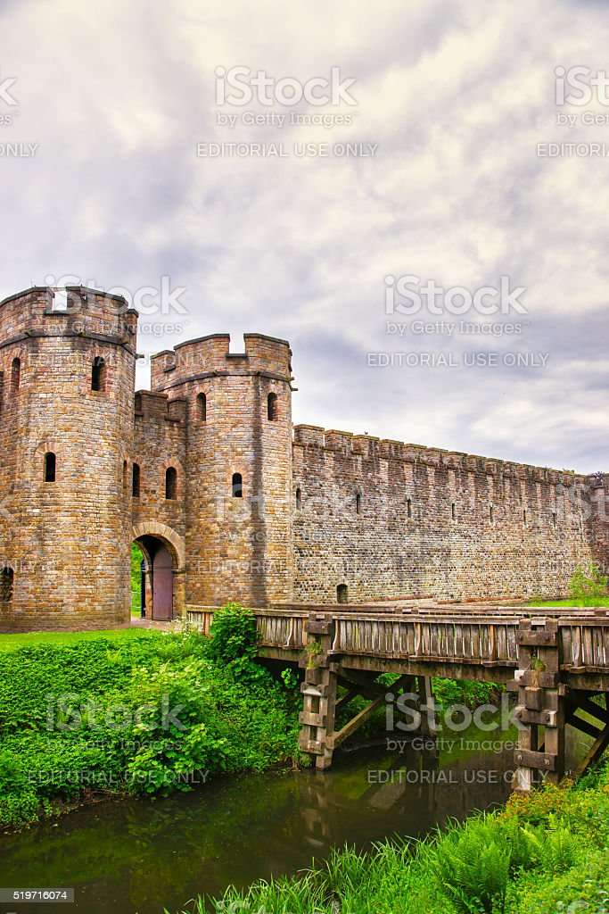 Entrance Gate Tower to Cardiff Castle in Cardiff in Wales stock photo