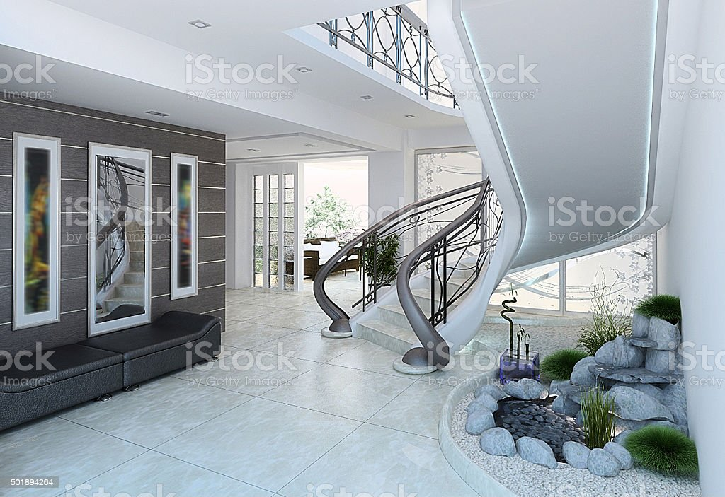 Entrance hall decorating ideas, 3d render stock photo