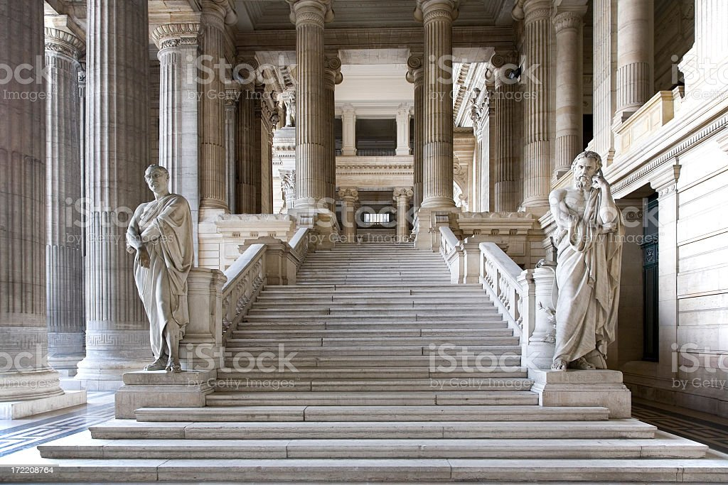 Entrance hall of Brussels Courthouse stock photo