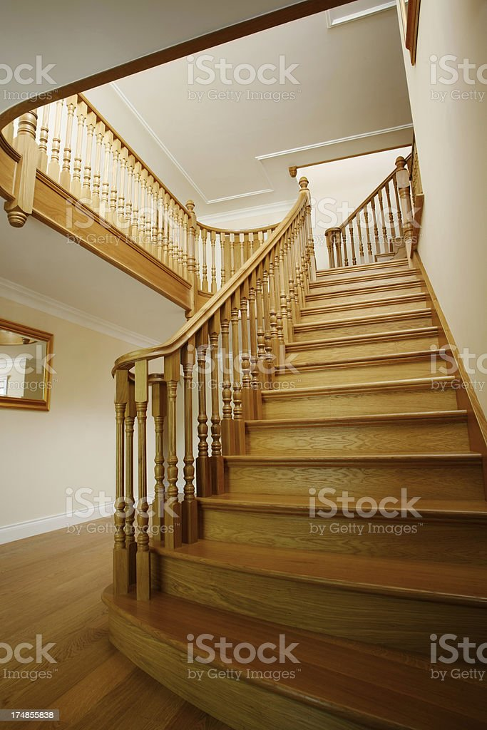 Entrance Hall with oak staircase royalty-free stock photo