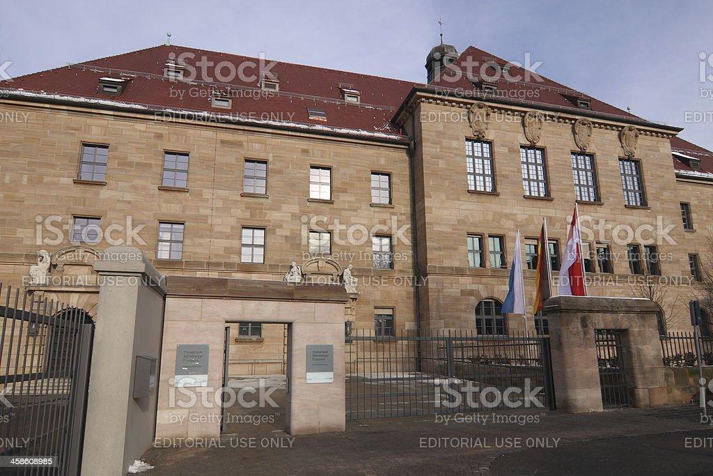 entrance historical courthouse - Museum Memorium Nuremberg Trials stock photo