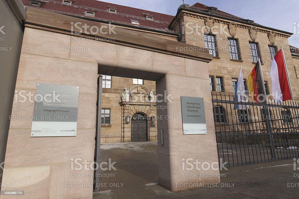 entrance historical courthouse - Museum Memorium Nuremberg Trials stock photo