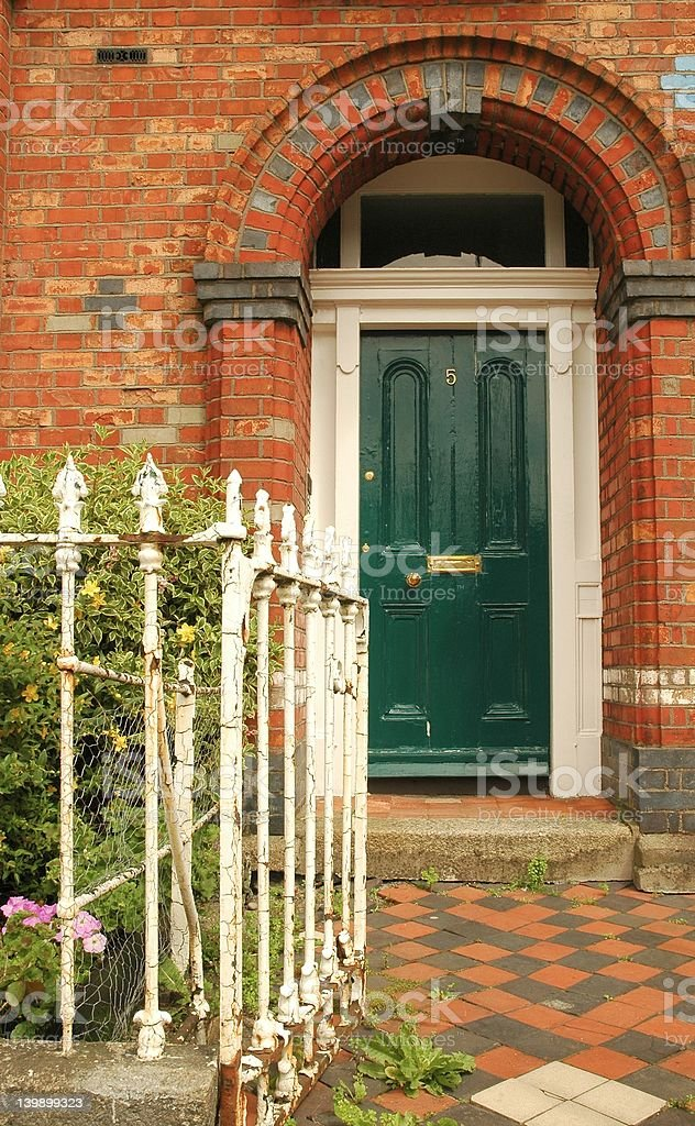 Entrance in green royalty-free stock photo