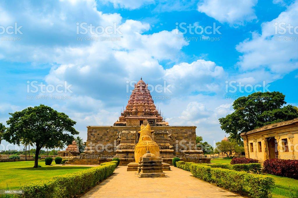 entrance in Hindu Temple dedicated to Shiva, ancient Gangaikonda stock photo