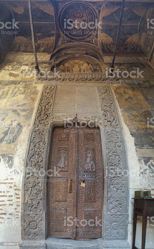 Entrance in Stavropoleus Monastery stock photo