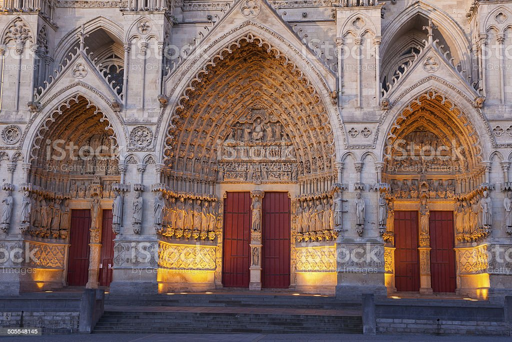 Entrance in the cathedral of Amiens stock photo