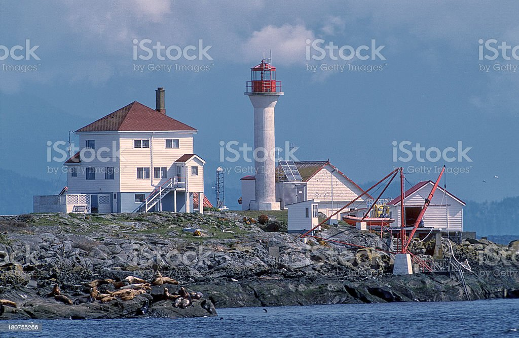 Entrance Island and lighthouse royalty-free stock photo