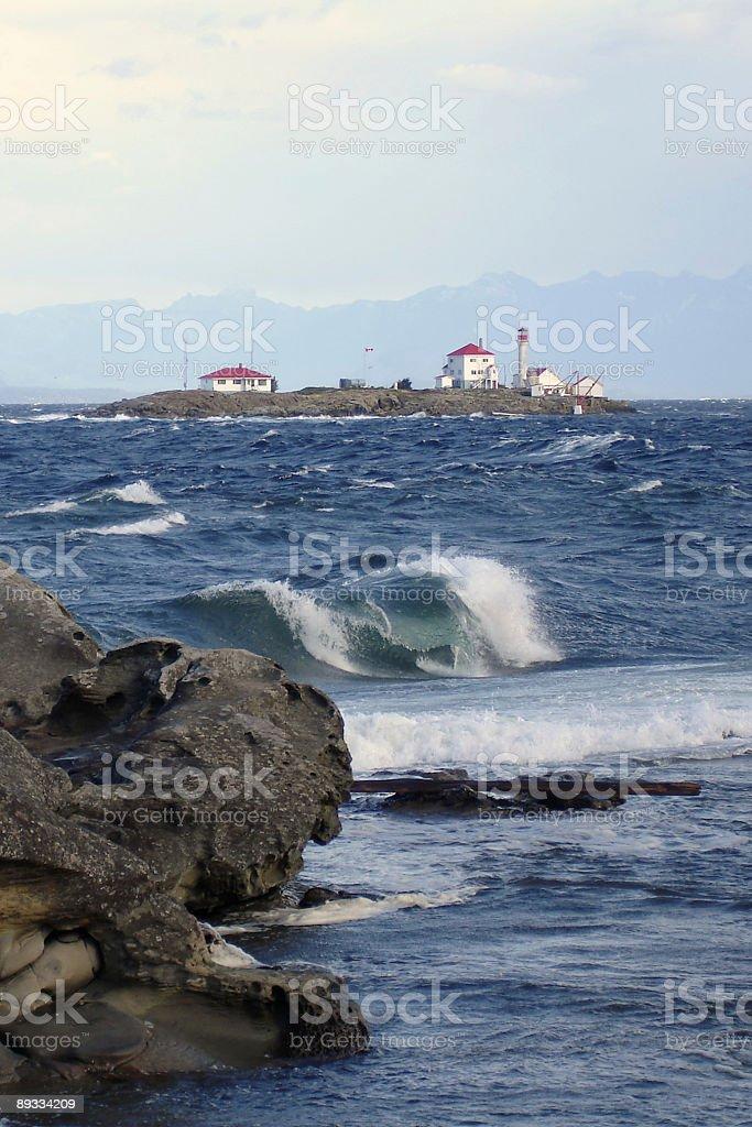 Entrance Island Lighthouse Wave stock photo