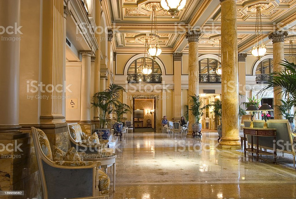 Entrance lobby of a luxurious hotel stock photo