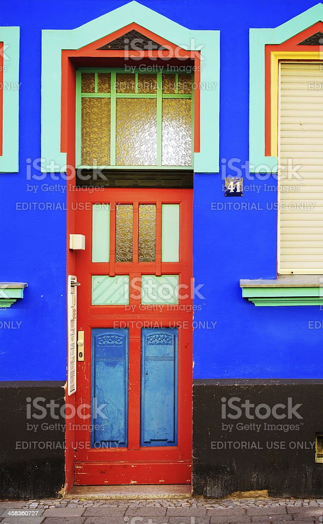 Entrance of a house in the Otto Richter Strasse, Magdeburg stock photo