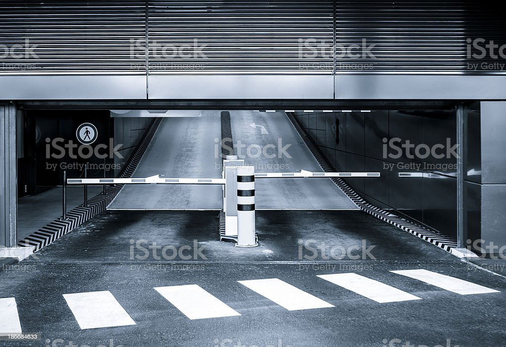 Entrance of a multi storey car park stock photo