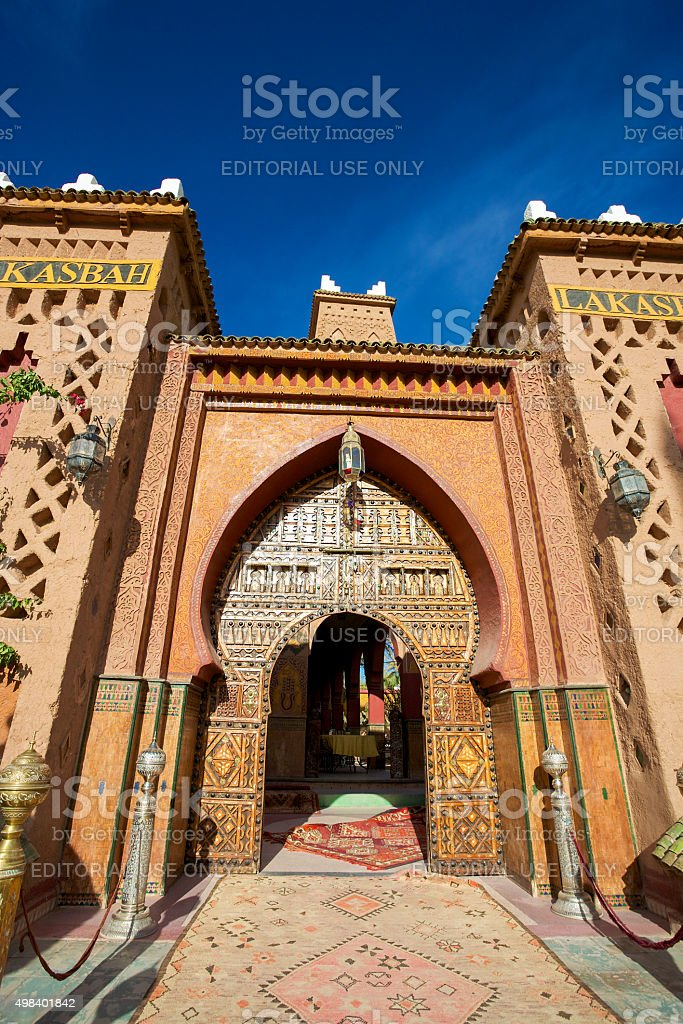 Entrance of a Riad in Morocco stock photo