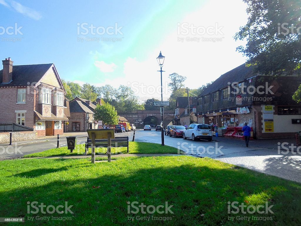 entrance of a town stock photo