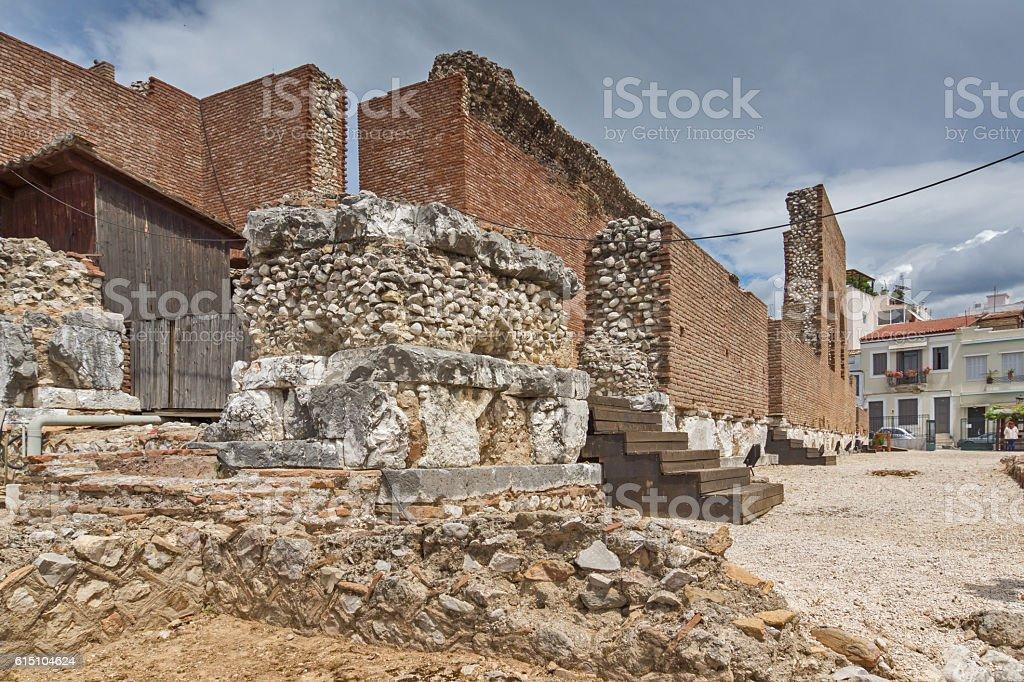 Entrance of Amphitheater in Roman Odeon, Patras, Peloponnese, Greece stock photo