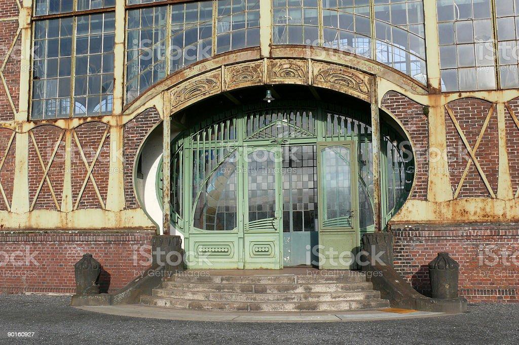 Entrance of an Art Nouveau Machine Shop royalty-free stock photo