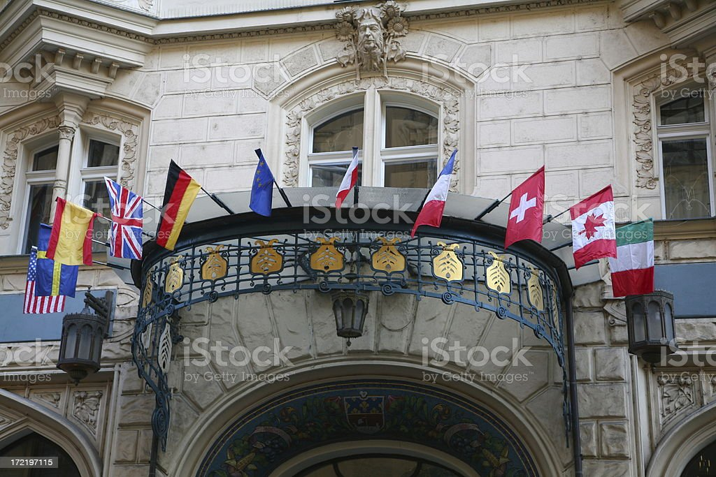 Entrance of an international hotel royalty-free stock photo