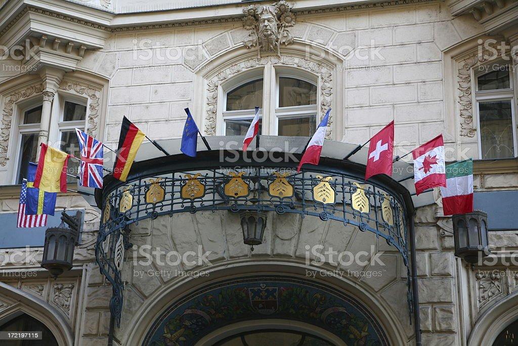 Entrance of an international hotel stock photo