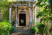 Entrance of an old mansion with garden