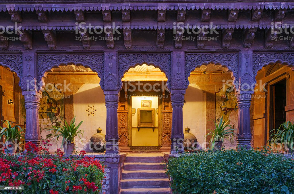 Entrance of Ancient Palace In Jodhpur stock photo
