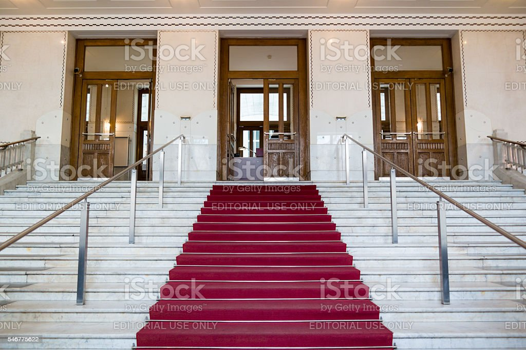 Entrance of Austrian Postal Savings Bank, Vienna, Austria stock photo