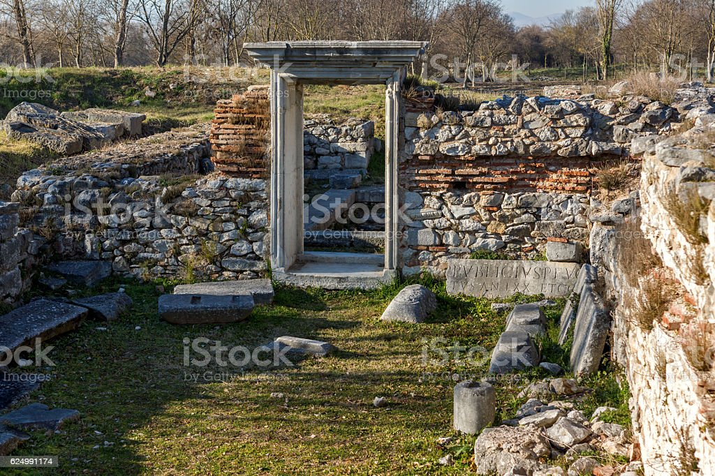 Entrance of Basilica in the archeological area of ancient Philippi, Greece stock photo