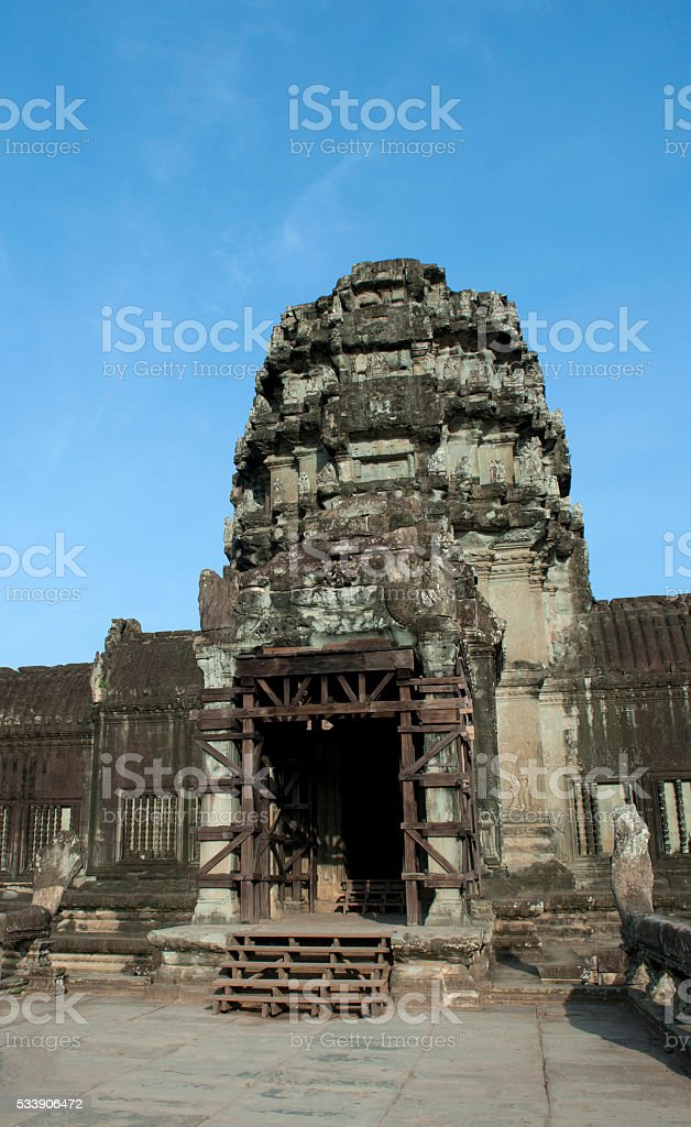 Entrance of Bayon Temple in Angkor Thom stock photo