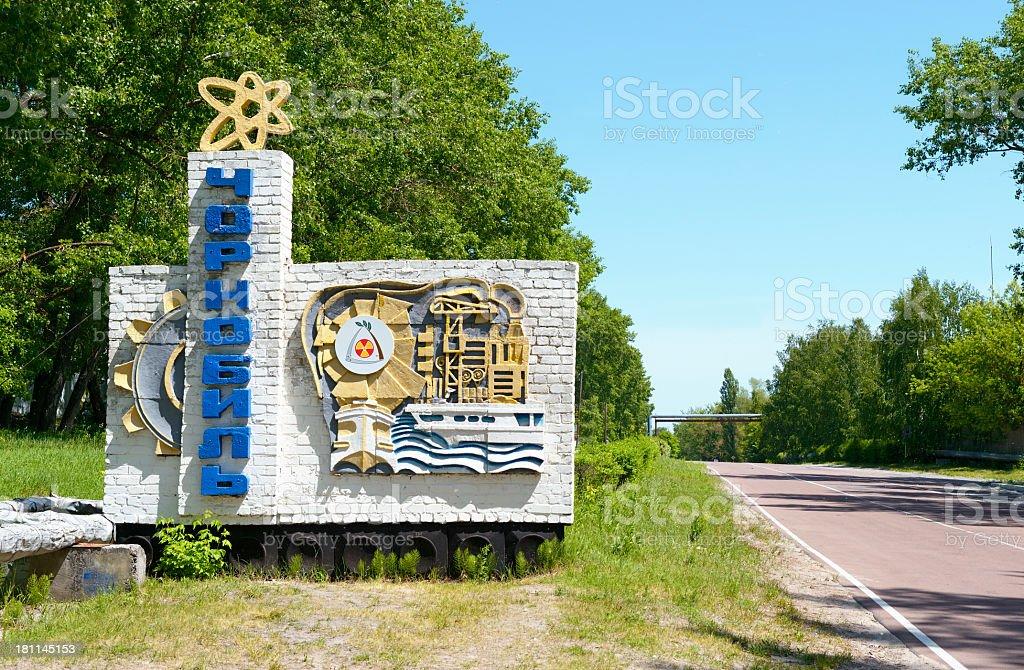 Entrance of Chernobyl stock photo